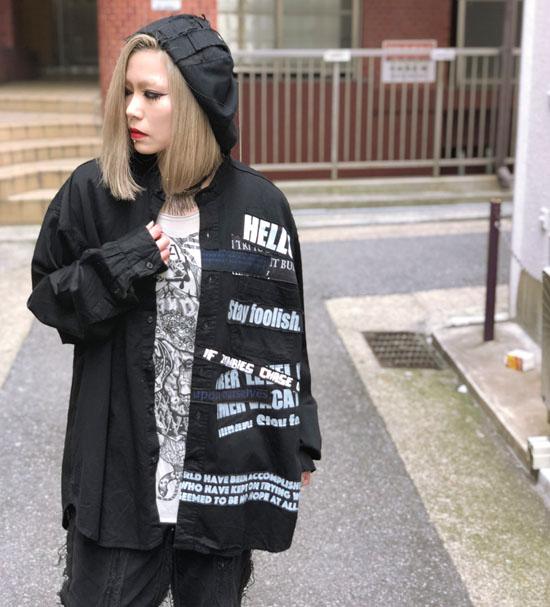 00○○ パッチワークカスタムBIGノーカラーシャツ
