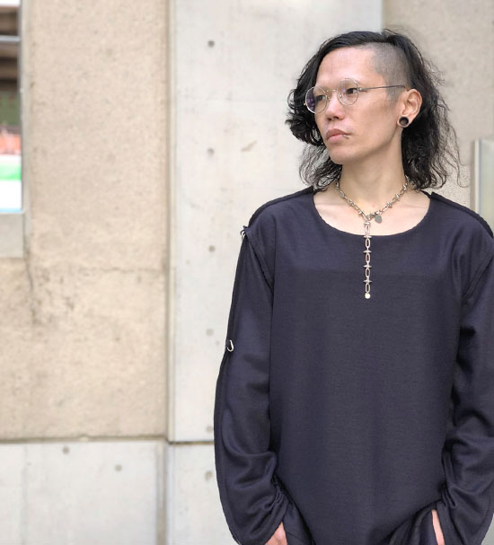 BLACK TRIANGLE DESIGN スパイクチェーンチョーカーネックレス