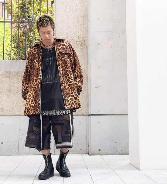 SHINICHI SUMINO レオパード柄ジップアップビッグシャツジャケット