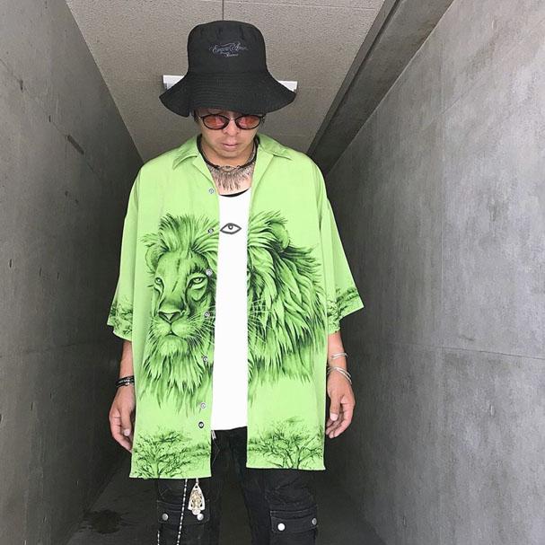 USED ライオン柄プリントBIGシャツ