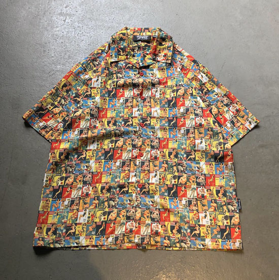 USED 古着 ピンナップガール総柄オープンカラーBIGシャツ