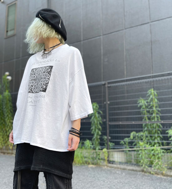 USED 古着 ケルトプリントTシャツカットソー