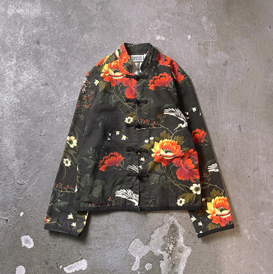 USED 古着 鶴柄×花柄チャイナシャツ